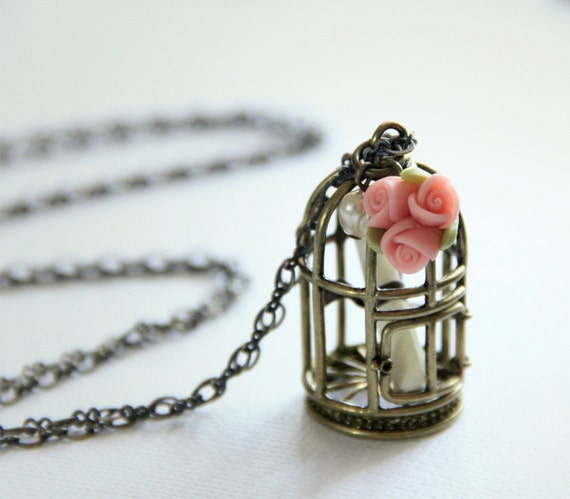 Antique Brass Plated Bird Cage Charm Necklace. Customised Message. Gift for Her.