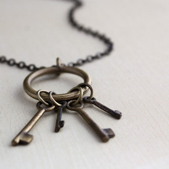 last one key necklace secret rustic charm necklace