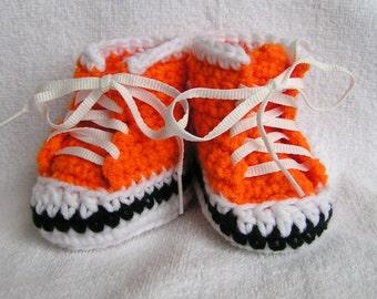 Handmade Orange High Top Sneaker Booties for Baby Size 0-3 months