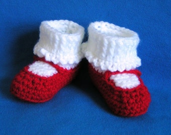 Mary Jane Baby Booties in  Red Size 3-6 months