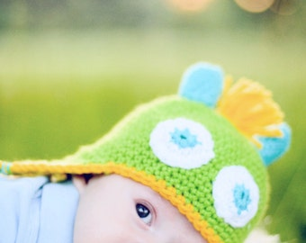 Baby Monster Hat in Bright Green 3 to 6 months Ready to Ship