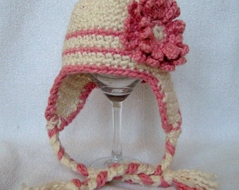 Organic Cotton Baby Earflap Hat with Flower  Pink and White 6 to 9 months Hand Crochet