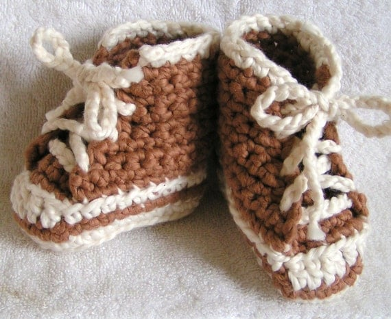 Organic Cotton Brown High Top Baby Sneaker Booties Size 6-9 months reserved for biomathematicsgeek