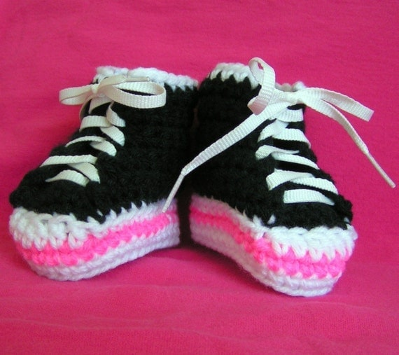 Handmade Black and Pink High Top Sneaker Booties for Baby- Size 3-6 months