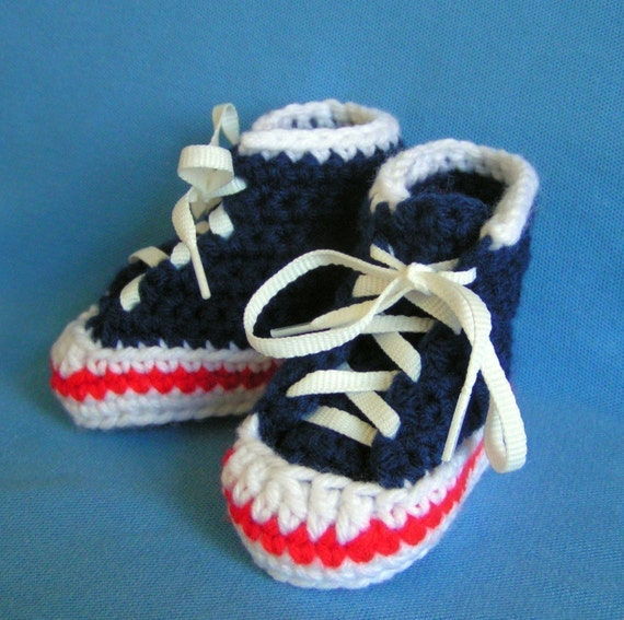 Navy Blue High Top Sneaker Booties for Baby Size 0-3 months
