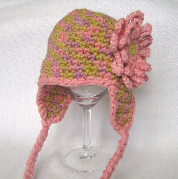 Baby Earflap Hat Organic Cotton Pink , Green, & Lavender   with PInk Flower 3 to 6  months ON SALE