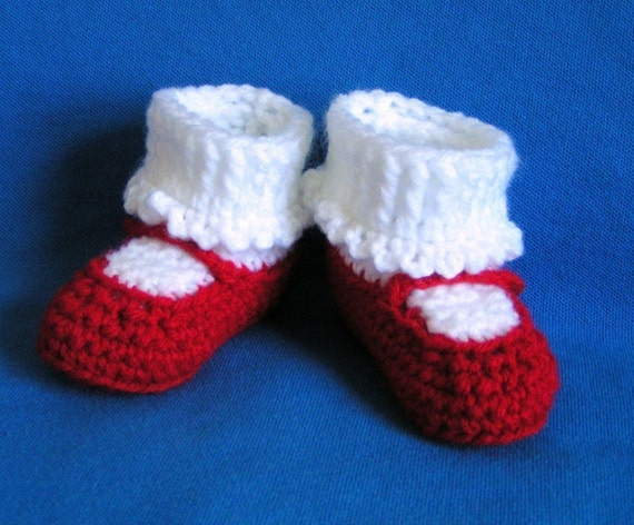 Mary Jane Baby Booties in  Red Size 0 to 3 months