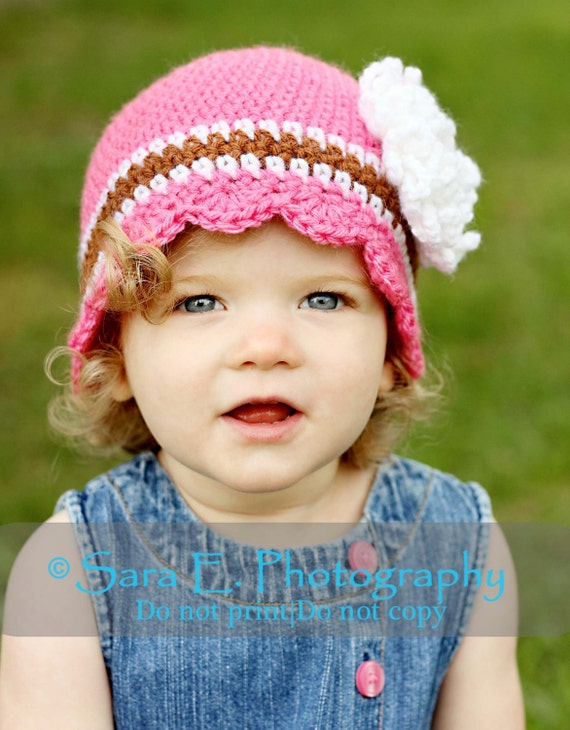 ON SALE Baby Girl Hat with Flower  Hand crochet Pink, Brown and White  3 to 6  months Ready to Ship