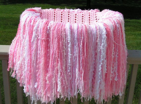 Baby Photography Prop  Pink and White Fringe Blanket Ready to Ship