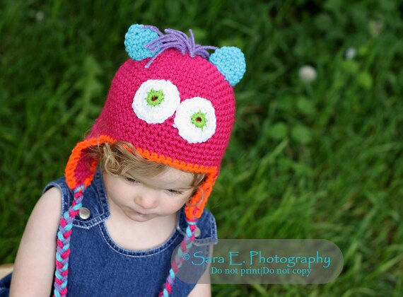 Baby  Monster Hat  Hot Pink Crochet  3 to 6 months