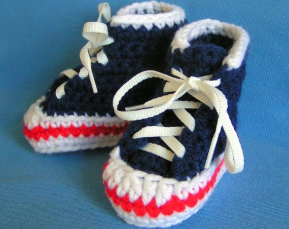 Baby High Top Sneaker Booties in Navy Blue Size 0-3 months