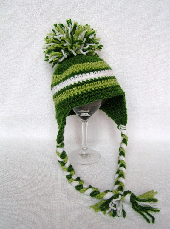 Baby Pompom  Hat  with Earflaps  Hand Crochet Green and White 0 to 3 months Ready to Ship