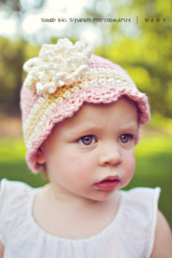 Newborn Flower Cloche Photo Prop Hand crochet Pink Organic Cotton Beanie