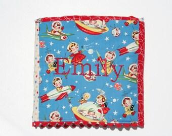 Personalized Baby Blanket - Retro Baby Blanket - ROCKET RASCALS Baby Blanket - Outer Space Blanket
