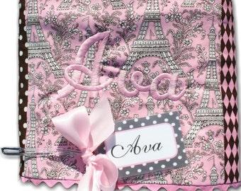 Paris Pink Patchwork Baby Blanket - Chenille Baby Blankets - Baby Girl Blanket - Baby Girl Gift