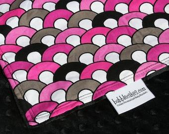 Baby Girl Blanket - Pink and Black Blanket - Minky Baby Blankets - Baby Girl Gift - Trendy Baby Blanket