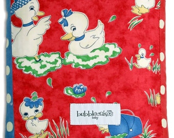 Ducky Baby Blanket - Chenille Baby Blanket - Patchwork Baby Quilt - Red and Blue Blanket - Duck Baby Blanket