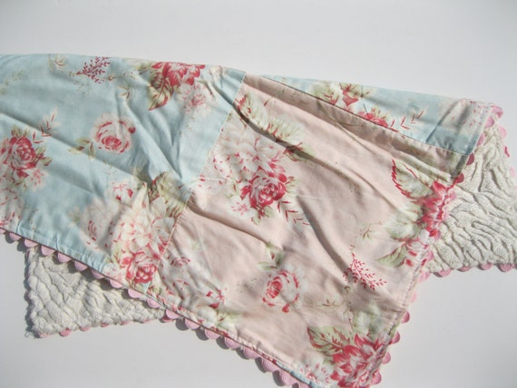 Pink Vintage Cottage Roses Mini Travel Baby Blanket