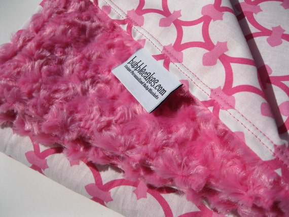 Pink Minky Baby Girl Blanket - Hollywood Chic