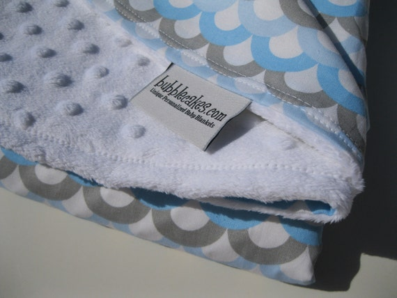 Blue and Gray Super Cool Boy Minky Baby Blanket