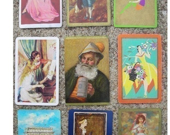 Assortment of Vintage Playing Cards for ATC Creations