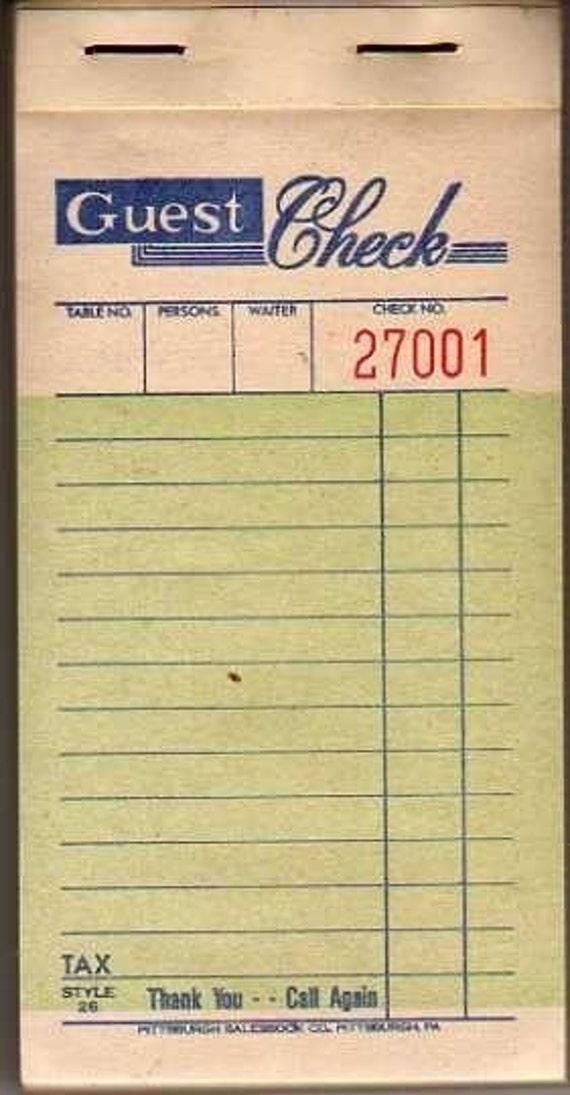 Vintage Guest Check Ticket Book