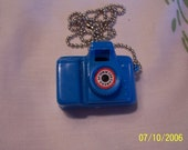 ONLY A FEW LEFT NEON BLUE Kitschy Mini Camera Necklace