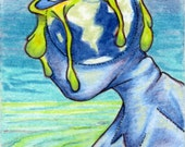 ACEO Art Card by Cyndi Deery  Surreal art about Global Warming