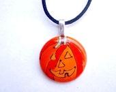 Take 1\/2 OFF - Halloween  Hand Painted Pendant - Wearable Art Bead Charm