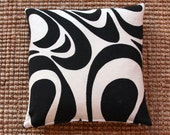 Two vintage Supergraphic Pillows - Made from Mod Black and White 60s Swedish Retro Curtains