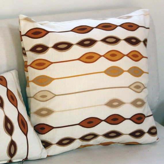 Geometric Brown, Orange, Yellow and White Pillow from vintage midcentury modern textile