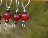 Clearance - Red Orb stitch markers (set of 4)