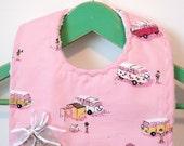 Retro Camper Vans on Pink - Minky Baby Bib