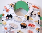 Sushi Menu on White - Minky Baby Bib