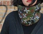 Neckwarmer cowl scarf - camouflage with black fleece lining for women