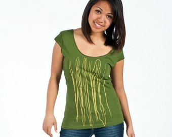 SALE - M,L - Graphic tee for women, womans tops tshirts, womens tees, tops & tees, olive green tshirt, strings design
