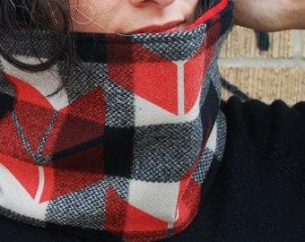 Wool neckwarmer, red fleece lined, cowl with silkscreened chevrons - cowl, neck warmer