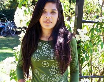 SALE - M - Graphic tee for women, womans tops tshirts, silkscreen womens t-shirt, womens tees, olive green 3/4 sleeve tshirt, wheels