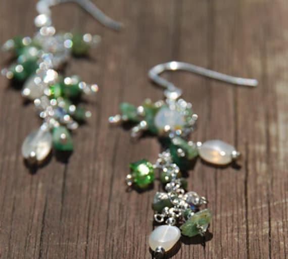 Fancy Emerald and Crystal Earrings, long dangle earrings