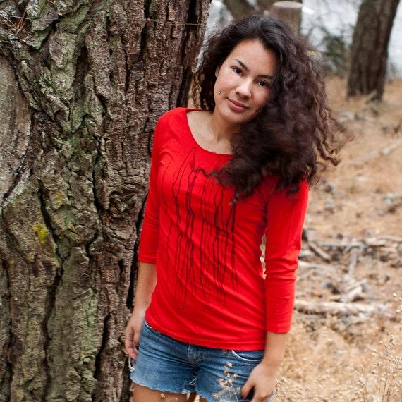 Graphic tee for women- S-XL, womans tops tshirts, silkscreen womens t-shirt, womens tees, tops & tees, red 3/4 sleeve tshirt, strings