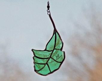 Green Oak Leaf - Recycled Glass Oak Leaf - Eco Friendly Gift