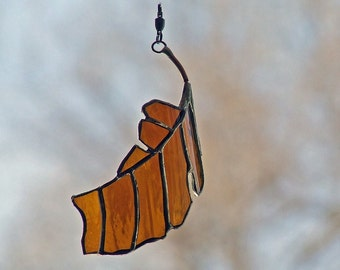 Elm Leaf Remnant from Amber Beer Bottle Glass, Orange Home Decor