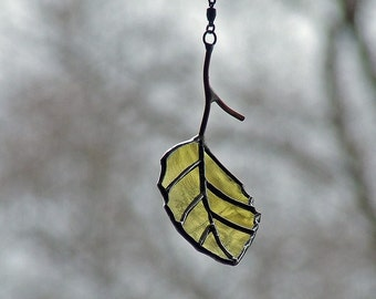 Eco Friendly Gift - Recycled Glass Birch Leaf - Nature Lover Gift - Glass Leaf Mobile