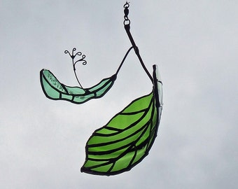 Upcycled Glass Linden Leaf and Seed, Unique Wedding Gift, Anniversary Gift