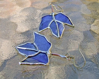 Blue Maple Leaf Reclaimed Wine Bottle Glass Earrings, unique wedding gift, anniversary gift