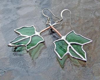 Unique Glass Jewelry - Maple Leaf Earrings from Reclaimed Green Bottle Glass