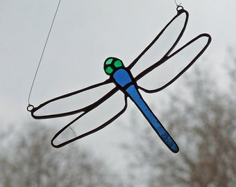 Stained Glass Dragonfly with Blue Tail