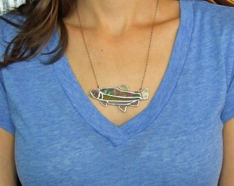 Stained Glass Trout Necklace, Hand Painted Trout Statement Jewelry, Unique Anniversary Gift