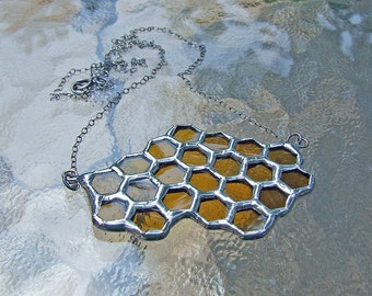 Unique Wedding Gift - Glass Honeycomb Necklace from Reclaimed Belgian Glass Bottle, Statement Jewelry