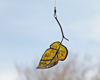 Glass Elm Leaf, Hand Painted Glass Leaf, Minneapolis Iconic Beer Bottle